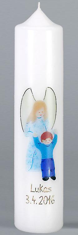 Kommuniontischkerze, F4892, 265x60, weiß, Fotodruck, Schutzengel Junge