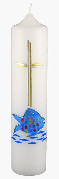 Kommuniontischkerze, 4857, 265x60, weiß, Fisch, blau-silber