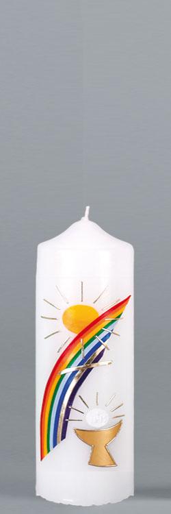 Patenkerze, P116, 165x60, weiß, Regenbogen