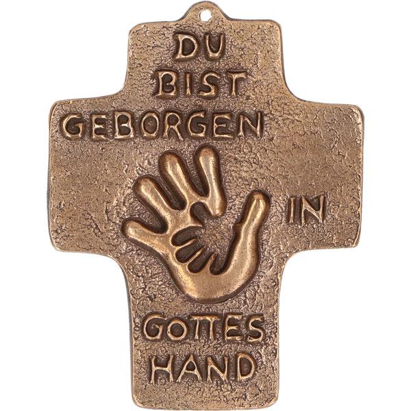 Bronzekreuz 142205, h=9cm, Du bist geborgen in Gottes Hand