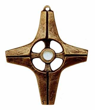 Bronzekreuz, 128A, mit Amethyst, im Etui, h=10cm