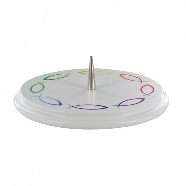 Holzleuchter, D13cm, weiß, bedruckt mit Fischen, für Kerzen bis D = 7 cm