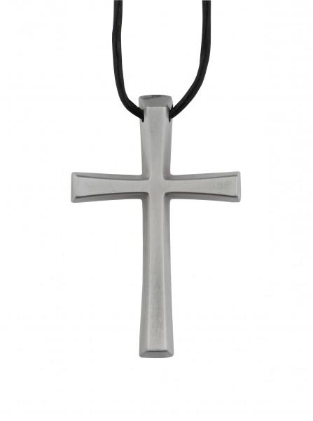 Kreuz aus Metallguss, Umhängekreuz, Ministrantenkreuz, 5 cm, mit Band, Altsilber