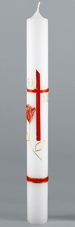 Kommunionkerze, 5825, Rose & Liebe, rot, gold, Größe wählbar