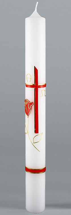 Kommunionkerze, 5825, 400x40, weiß, Rose & Liebe, rot, gold