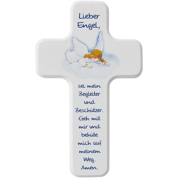 Holzkreuz 330173, h=18cm, weiß lackiert, Lieber Engel