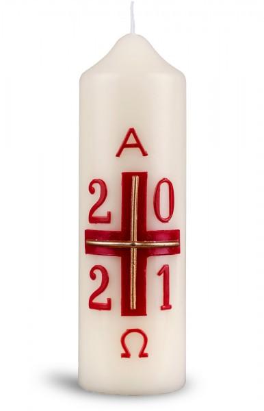 Ostertischkerze, 1274, 165x50, Kreuz-rot-gold mit Jahreszahl