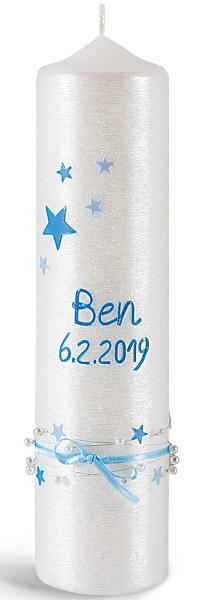 Taufkerze, -Ben-, 250x60, Silberglanzstruktur, blau, silber