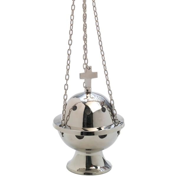 Sternsinger-Rauchfaß, Höhe 13 cm, silber, mit Kette