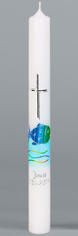 Kommunionkerze, 5902, Regenbogenfisch, blau-silber, Größe wählbar