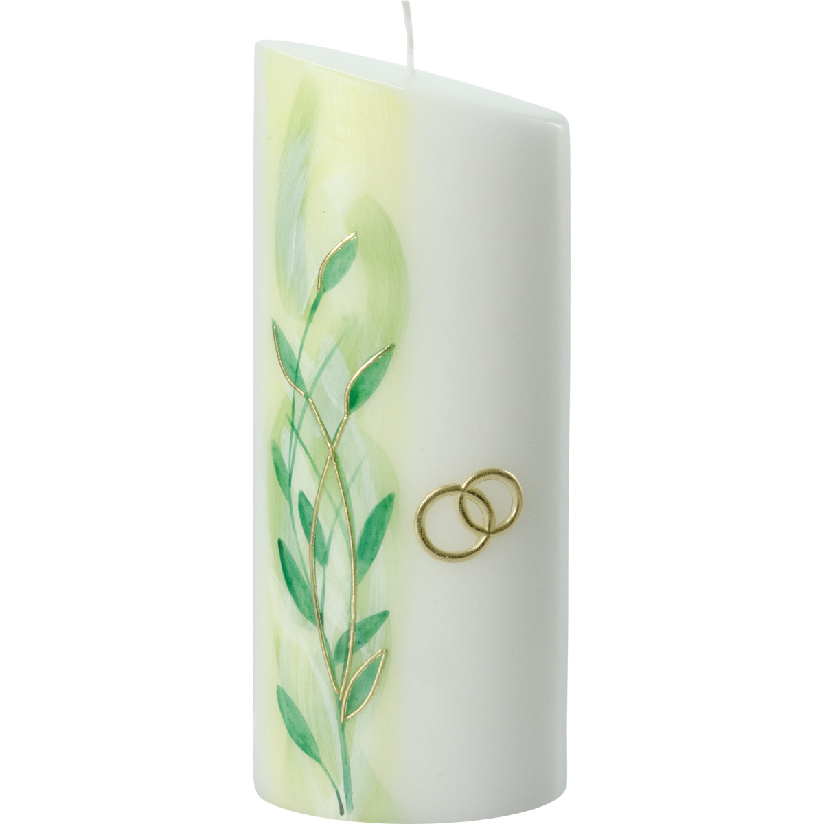 Hochzeitskerze, 2279, Oval 230x90x60, Blätterranke, grüntöne, gold