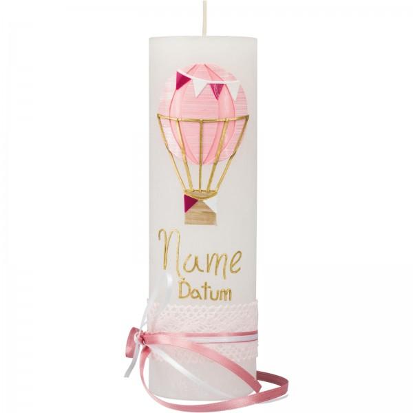 Taufkerze, Rustik, 23 x 7 cm, weiß, Ballon rosa, Spitze und Band