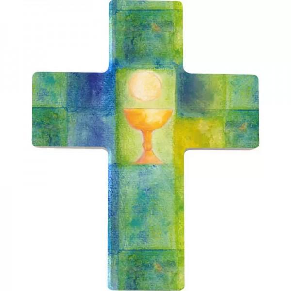 Holzkreuz, Nr. 810134, Kelch grün, 9 x 7 cm, Holz bedruckt