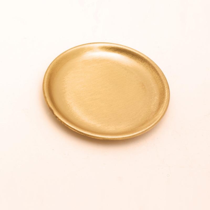Kerzenteller, rund klein, Ø = 10 cm, gold matt