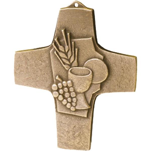 Bronzekreuz 142147, Brot und Wein, Höhe 10 cm
