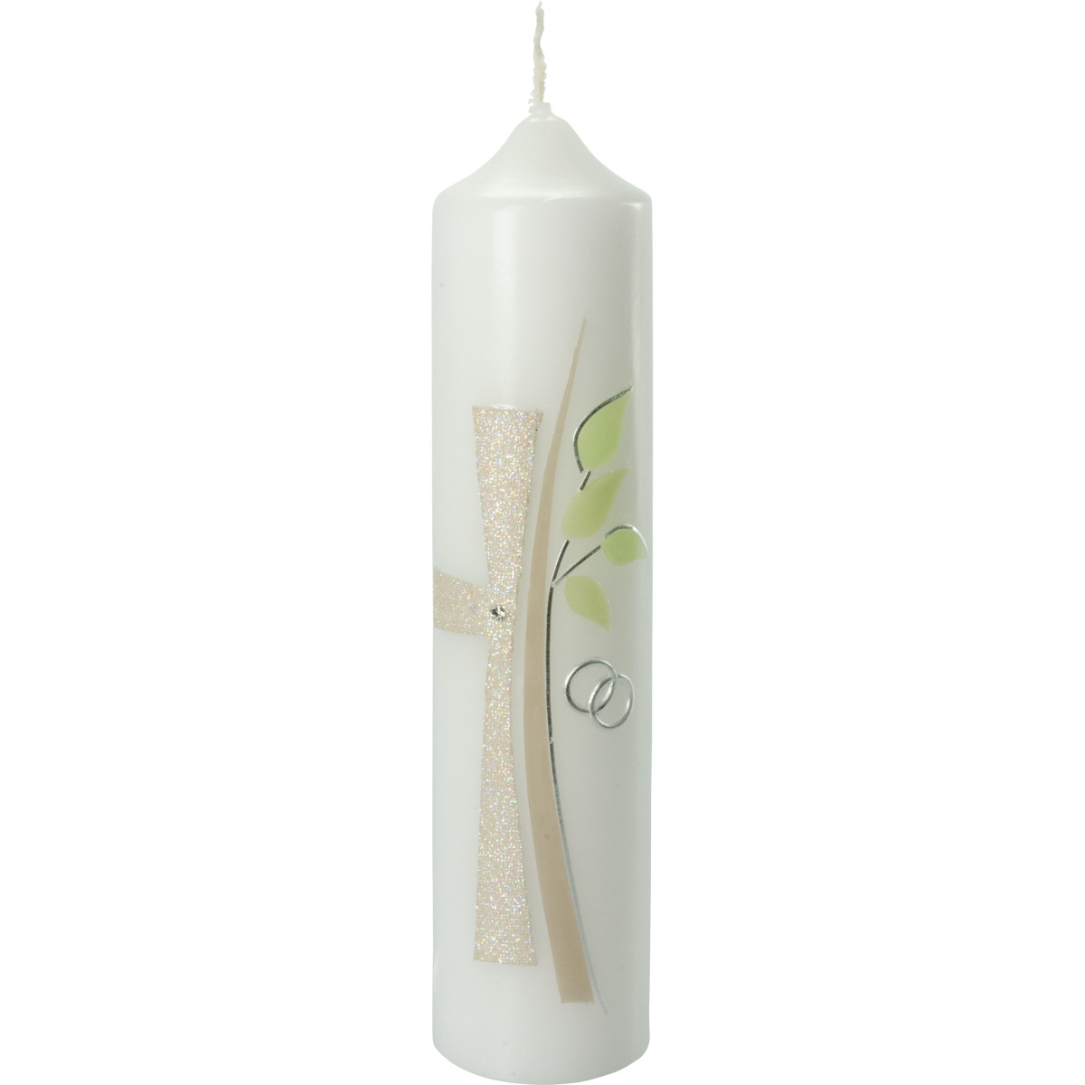 Hochzeitskerze, #5026, 265x60, Kreuz, Baum, glimmer-grün-silber