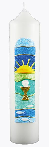 Kommuniontischkerze, 4823, 265x60, weiß, Licht & Fische, Sonne, gold