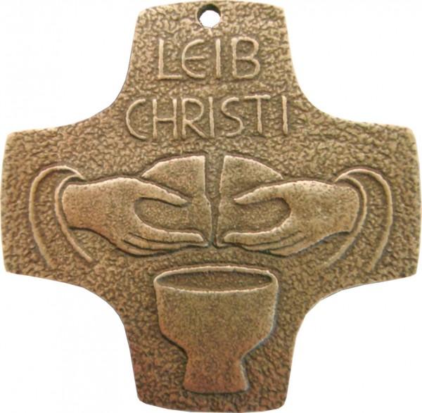 Bronzekreuz, 802018, Leib Christi, 7 x 7 cm