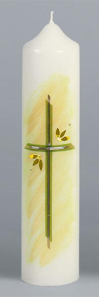 Liturgische Kerze, 2633, 265x60, Wachskreuz, gelb, ---Abverkauf---