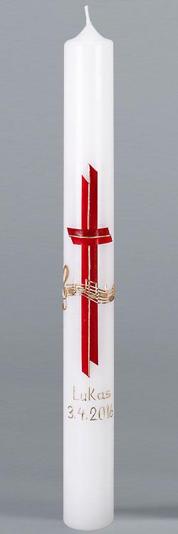 Kommunionkerze, 5864, 400x40, weiß, Gottes Melodie, Kreuz, rot, gold