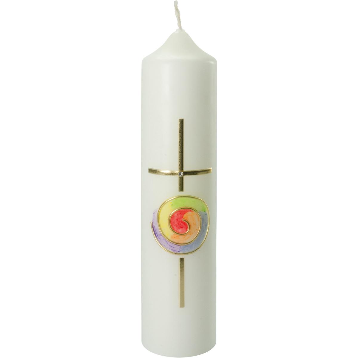 Liturgische Kerze, #2616, 265x60, Wachskreuz, gold, Regenbogen