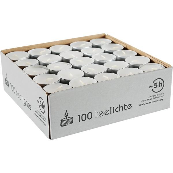 100 Teelichte mit Aluhülle, Ø=38mm, ~5h