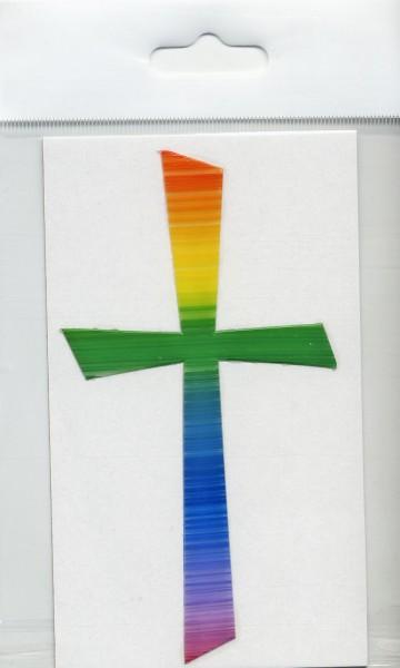 Wachsauflage, Kreuz 1, Regenbogen, mc, 105x57mm