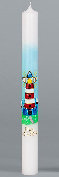 Kommunionkerze, 5900, 400x40, weiß, Leuchtturm, blau, rot, grün, gold