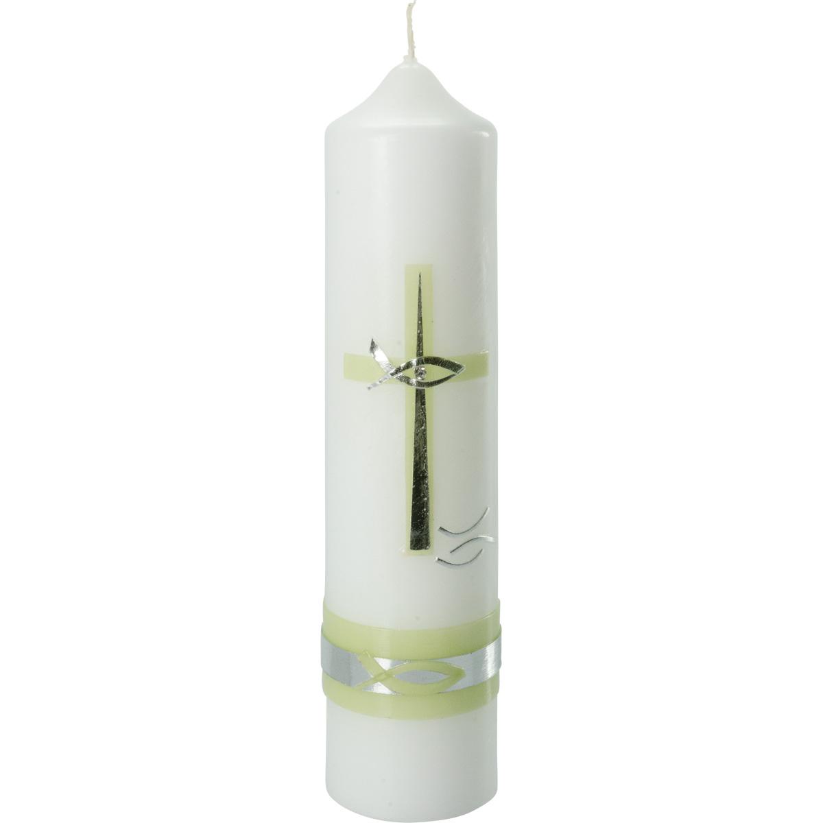 Taufkerze, #4025, Höhe=265mm, Ø=60mm, Kreuz, grün, silber