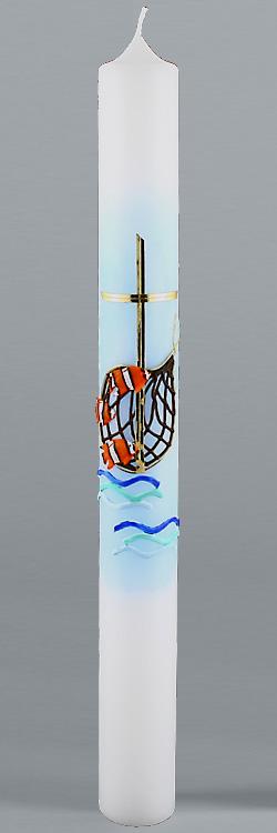 Kommunionkerze, 5827, 400x40, weiß, Fische, Netz, blau, gold