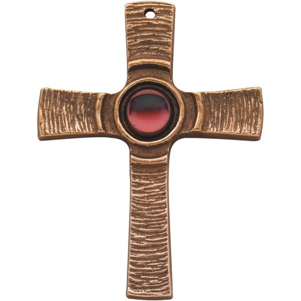 Bronzekreuz 142097, h=7,5cm, Kreuz mit rotem Stein