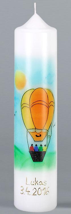Kommuniontischkerze, F4891, 265x60, weiß, Fotodruck, Heißluftballon