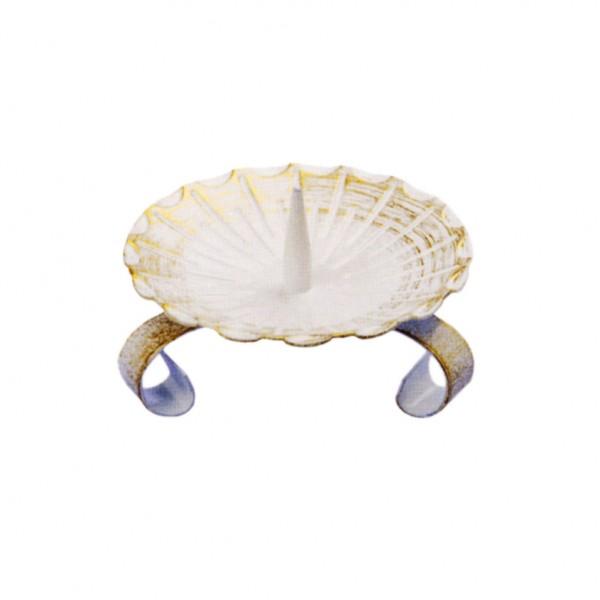 Tischleuchter, weiß-gold, Antik, Der Evergreen, Klein, Ø=8cm