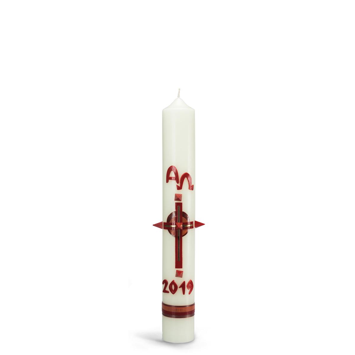 Osterkerze, 18.6009, Kreuz, rot, mit roten Nägeln