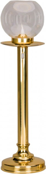 Tischflambeauxset, 40cm, glatt, Messing, inkl. Tropfschale, inkl. Glas