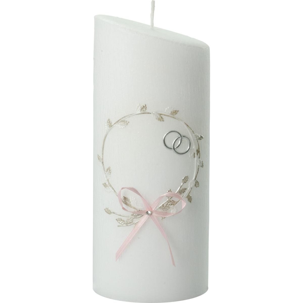 Hochzeitskerze, 5016, Oval 230x90x60, Struktur, rosa Schleife, silber