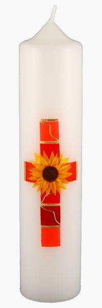 Kommuniontischkerze, 4847, 265x60, weiß, Sonnenblume, Kreuz, rot, gold
