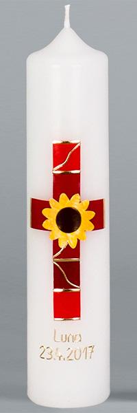 Kommuniontischkerze, 4904, 265x60, weiß, Sonnenblume