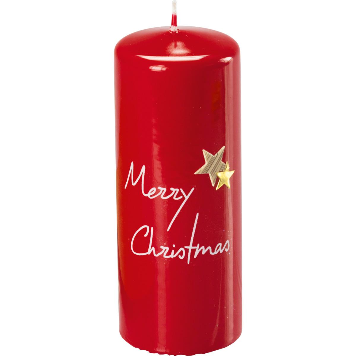 Weihnachtskerze, 3016, 15 x 6 cm, rubin, Merry Christmas