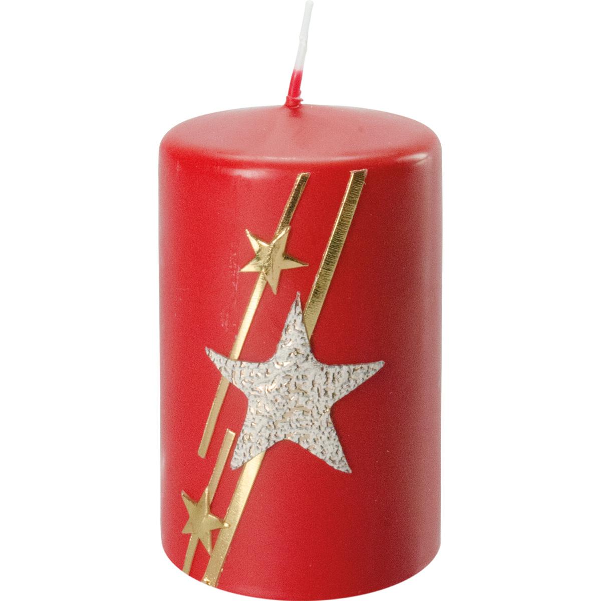 Weihnachtskerze, #2739, 10 x 6 cm, rubin, Stern