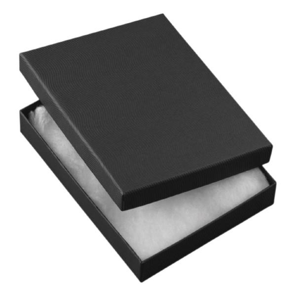 Geschenkkarton, schwarz, mit weißer Watte, 1900, 12x9 cm