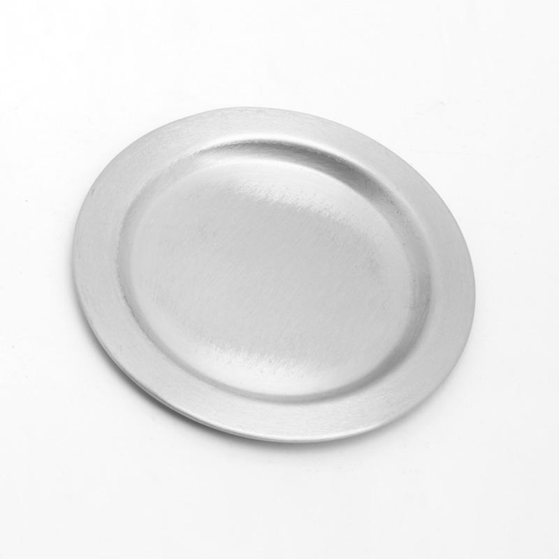 Kerzenteller rund, silber matt, leicht, 14 cm