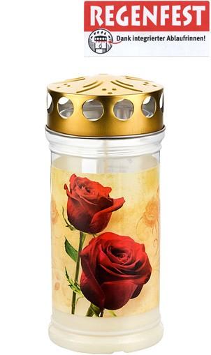 12 Grablichter, Memoriam Nr.413, ~ 4 Tage, Rosen, mit Deckel