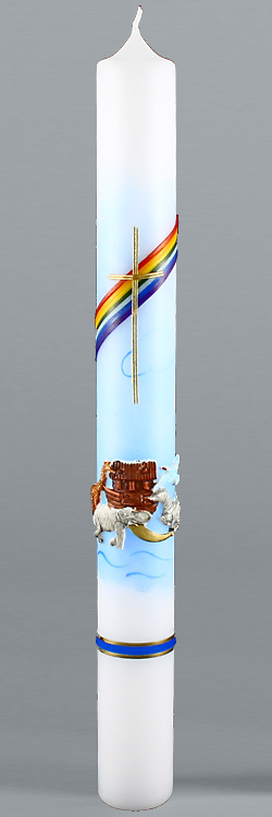 Kommunionkerze, 5830, 400x40, weiß, Arche Noah, blau, gold