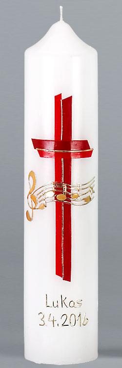 Kommuniontischkerze, 4875, 265x60, weiß, Gottes Melodie, rot, gold