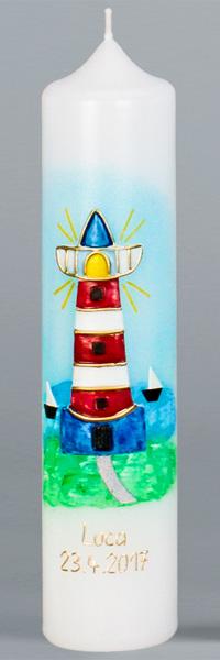 Kommuniontischkerze, 4900, 265x60, weiß, Leuchtturm