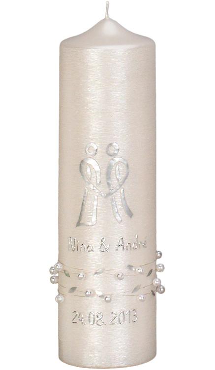 Hochzeitskerze #4413, 250x70, silbergl.-struktur, Brautpaar, Perlen