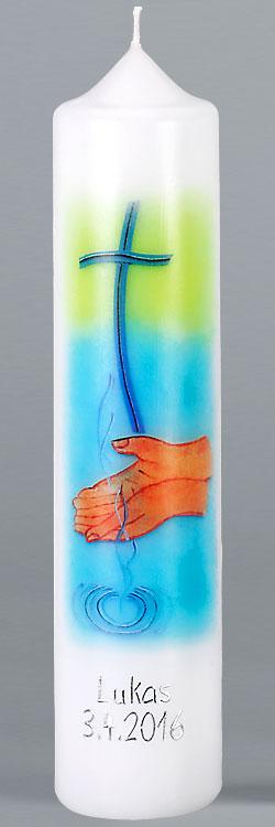 Kommuniontischkerze, F4880, 265x60, weiß, Fotodruck, Wasser des Lebens