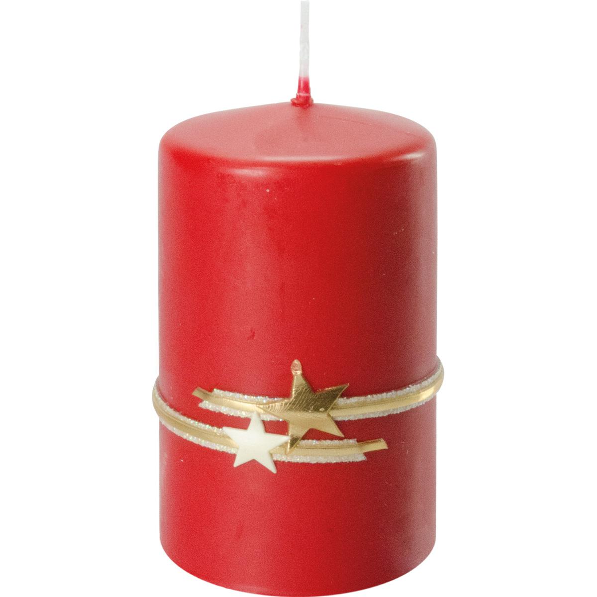 Weihnachtskerze, #2735, 10 x 6 cm, rubin, Serie Mette