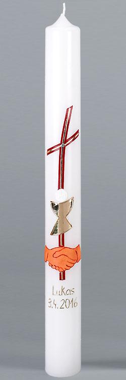 Kommunionkerze, 5863, Hände, Kreuz, Kelch, rot, gold, Größe wählbar